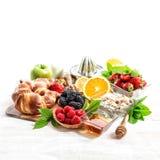 Breakfast croissants, muesli, fresh berries. Healthy organic foo Royalty Free Stock Images