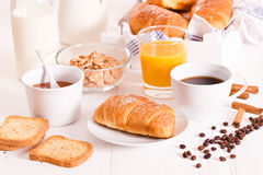 Breakfast with croissants. Royalty Free Stock Photo