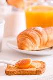 Breakfast with croissants. Stock Image