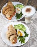 Breakfast of croissants with salmon Stock Photo