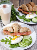 Breakfast of croissants with salmon Royalty Free Stock Image