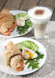 Breakfast of croissants with salmon Stock Images