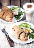 Breakfast of croissants with salmon Stock Photos