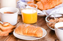 Breakfast with croissants. Stock Images