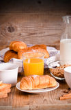Breakfast with croissants. Royalty Free Stock Images