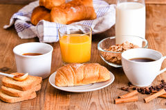 Breakfast with croissants. Royalty Free Stock Image
