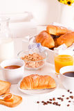 Breakfast with croissants. Royalty Free Stock Photos