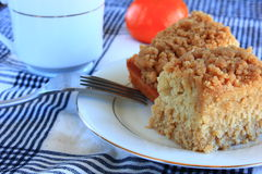 Breakfast crumb cake desert. Breakfast crumb cake on a white plate Royalty Free Stock Photography