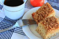 Breakfast crumb cake desert. Breakfast crumb cake on a white plate stock photography
