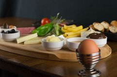 At breakfast, cucumber tomato cheese olive tray stock photography
