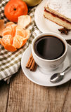 Breakfast with cup coffee and tangerine Stock Photos