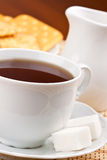 Breakfast with cup of tea and crackers Stock Image