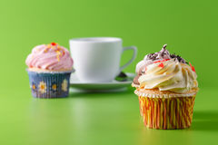 Breakfast with cupcake Royalty Free Stock Photo