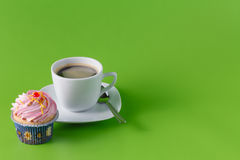 Breakfast with cupcake Stock Images