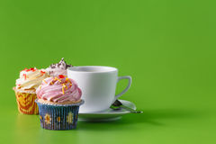 Breakfast with cupcake Royalty Free Stock Image