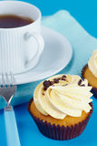 Breakfast with cupcakes Royalty Free Stock Photography