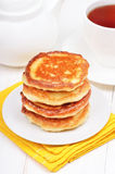 Breakfast with curd pancakes and tea Stock Image