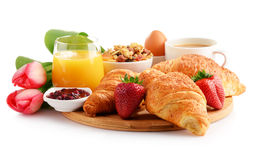 Breakfast on the cutting board on white Stock Images
