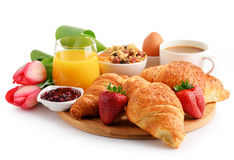 Breakfast on the cutting board on white Stock Photo