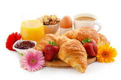 Breakfast on the cutting board on white Royalty Free Stock Photography