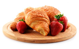 Breakfast on the cutting board on white Royalty Free Stock Images