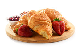Breakfast on the cutting board on white Stock Photography