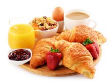 Breakfast on the cutting board on white Royalty Free Stock Image