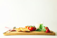 Breakfast on cutting boards Stock Photo