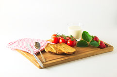 Breakfast on cutting boards Stock Photos