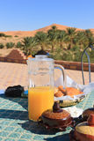 Breakfast in the Desert. Breakfast in the early morning near the sand dunes Royalty Free Stock Image