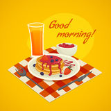 Breakfast Design Concept With Good Morning Wishing Royalty Free Stock Photography