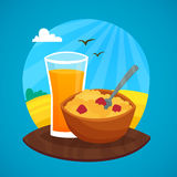 Breakfast Design Concept At Rural Landscape Royalty Free Stock Photography