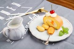 Breakfast on desk Royalty Free Stock Photo