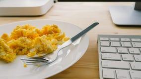 Breakfast on desk. royalty free stock image