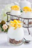 Breakfast dessert with bran flakes, plain yogurt and mango Stock Image