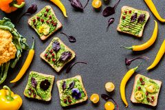 Breakfast different avocado sandwich. Different Fresh colorful organic vegetables. healthy raw vegan food on grey. Background Royalty Free Stock Photography