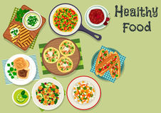 Breakfast dishes icon for healty menu design Stock Photos