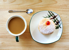 Breakfast with donuts and coffee Stock Photo