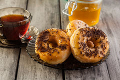 Breakfast with donuts and honey Royalty Free Stock Photo
