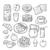 Breakfast doodle. Sandwich bread toast egg butter, morning coffee and cheese sketch healthy food vintage vector set vector illustration