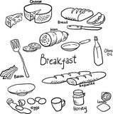 Breakfast doodle set Stock Photo