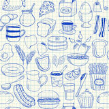 Breakfast doodles seamless pattern Stock Photography