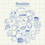 Breakfast doodles - squared paper royalty free illustration