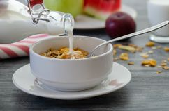 Breakfast with dried fruits and milk stock image