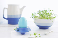 Breakfast with Easter egg and cress Royalty Free Stock Image
