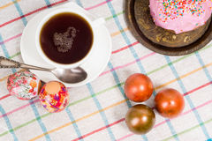 Breakfast for Easter - eggs and a small cake Stock Photo