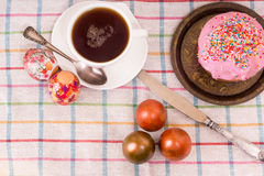 Breakfast for Easter - eggs and a small cake Stock Image