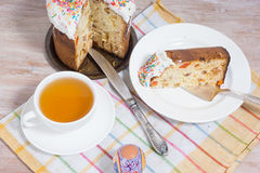 Breakfast on the Easter eggs and small Easter cake Royalty Free Stock Photo