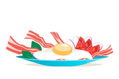 Breakfast with egg and bacon vector illustration. Cartoon style Royalty Free Stock Photography