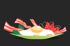Breakfast with egg and bacon vector illustration. Cartoon style Stock Photo
